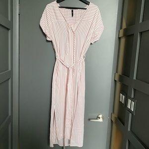 Zara Red and White Short Sleeved Midi Dress